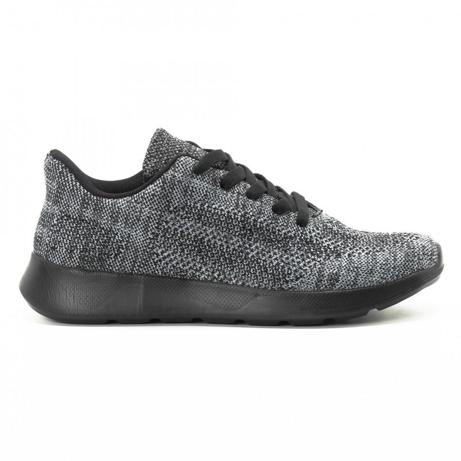 Текстилни мъжки маратонки в сив меланж it301118-6