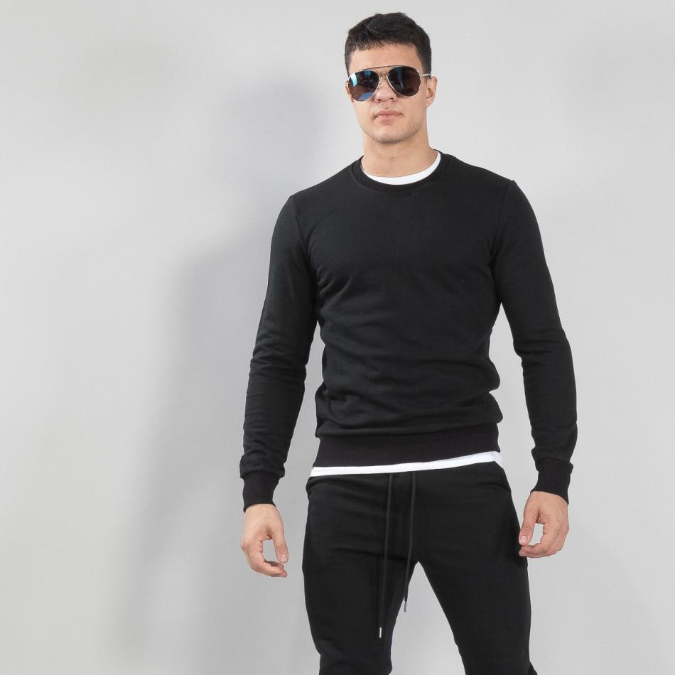 Basic мъжка памучна блуза в черно it150419-48