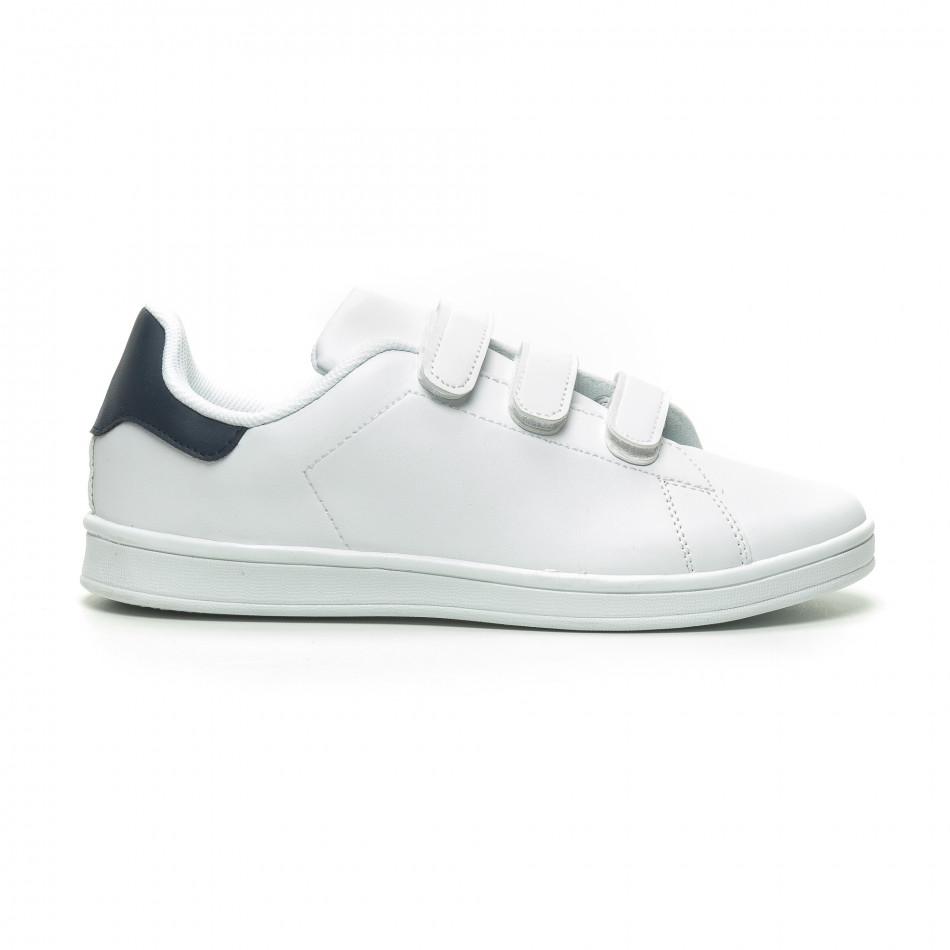 Бели мъжки кецове синя пета и лепенки it230519-15