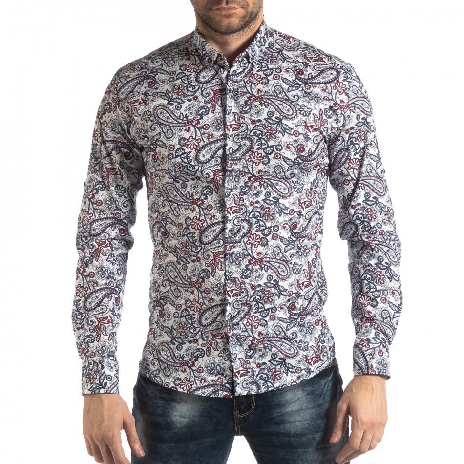 Мъжка бяла риза кашмирен десен с червено it210319-90