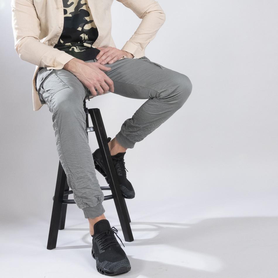 Сив карго панталон с трикотажни маншети it210319-19