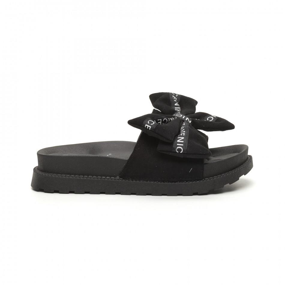 Дамски чехли черна панделка с надписи it050619-53