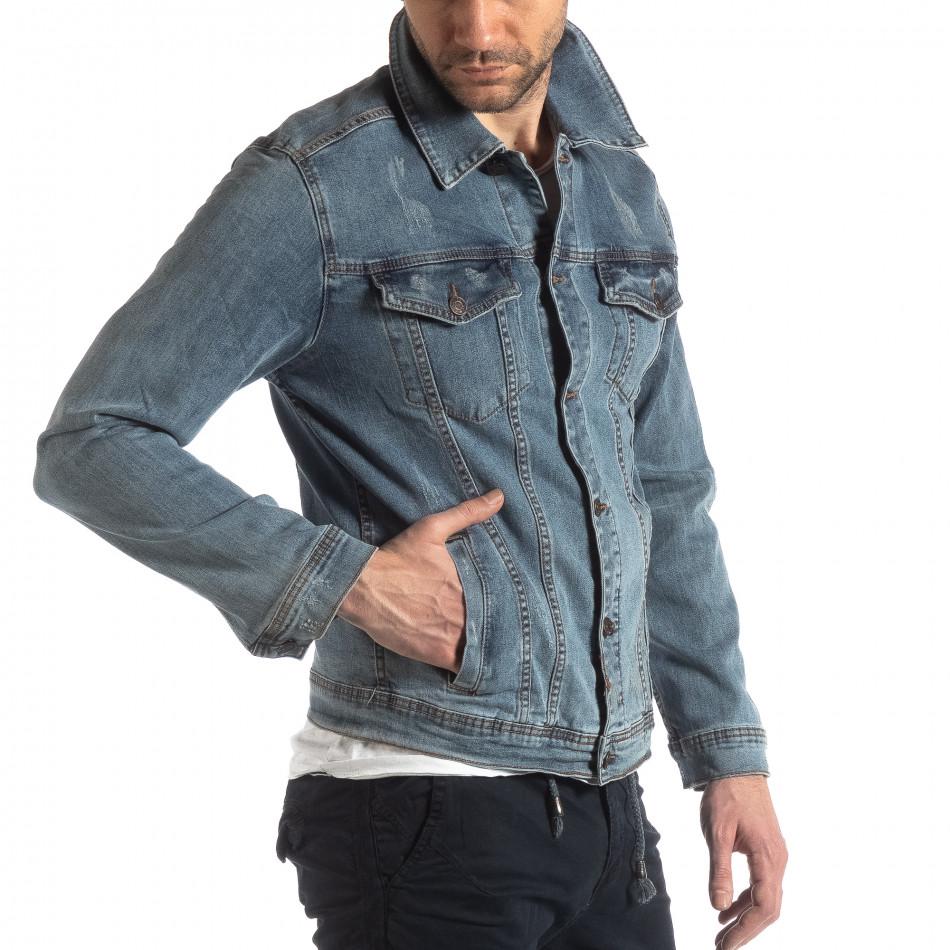 Мъжко еластично дънково яке в синьо it210319-107