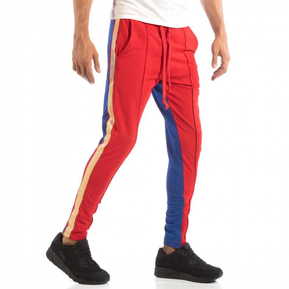 Мъжки Jogger в червено и синьо с кантове и ципове it240818-102