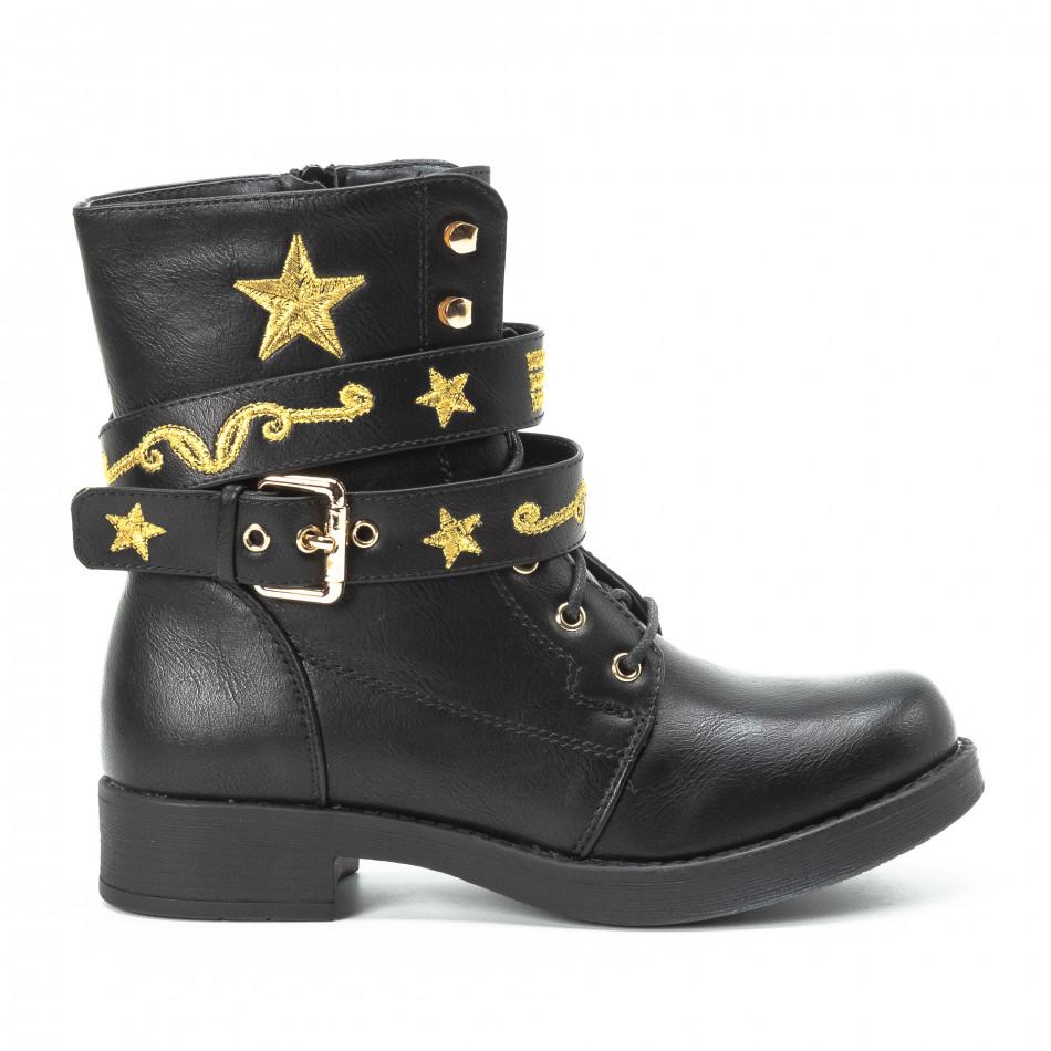 Черни дамски боти с връзки и златиста бродерия it140918-37