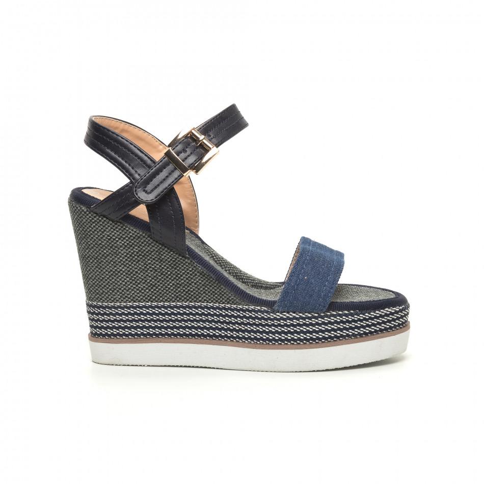 Сини дамски сандали на висока платформа it050619-69