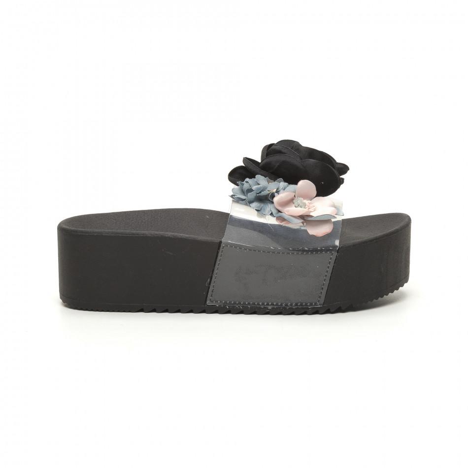Дамски черни чехли с прозрачна ивица it050619-71