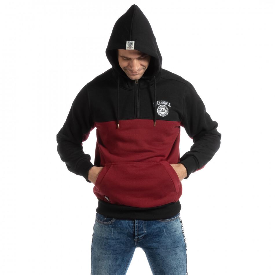 Мъжки суичър тип анорак в черно и бордо it261018-77