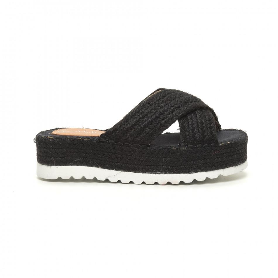 Плетени дамски чехли в черно it050619-49