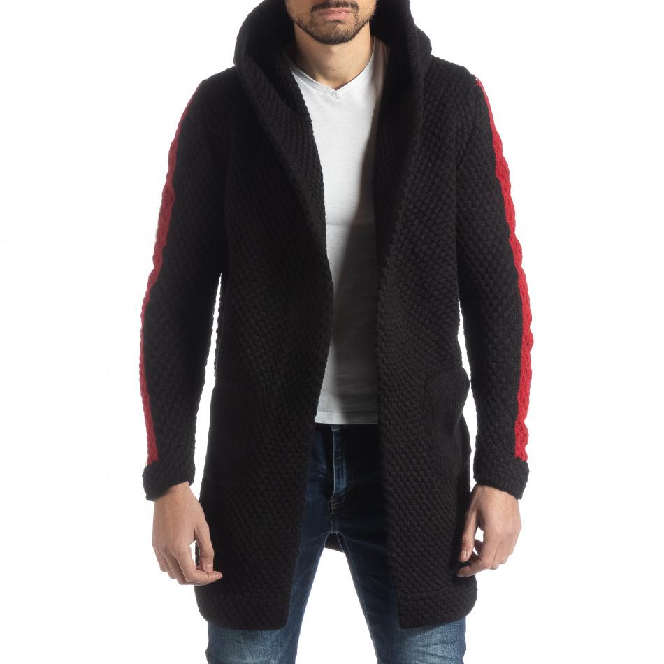 Черна плетена мъжка жилетка с кантове it051218-62
