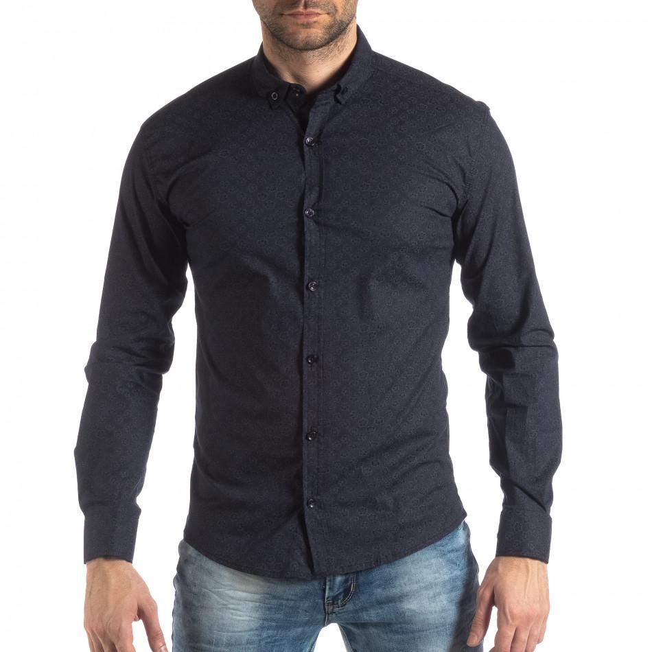 Slim fit мъжка риза с флорален десен тъмно син it210319-93