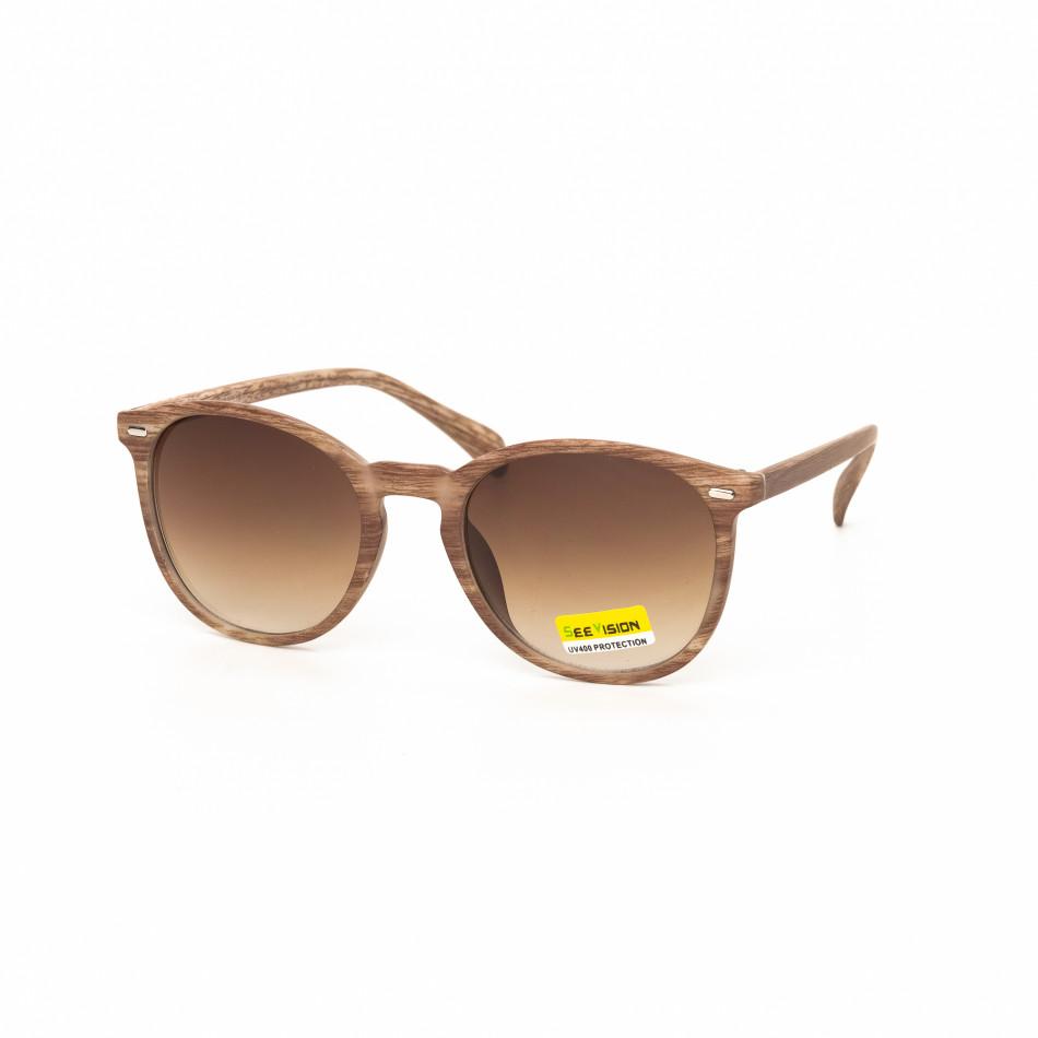 Опушени слънчеви очила дървесна рамка бежова it030519-47