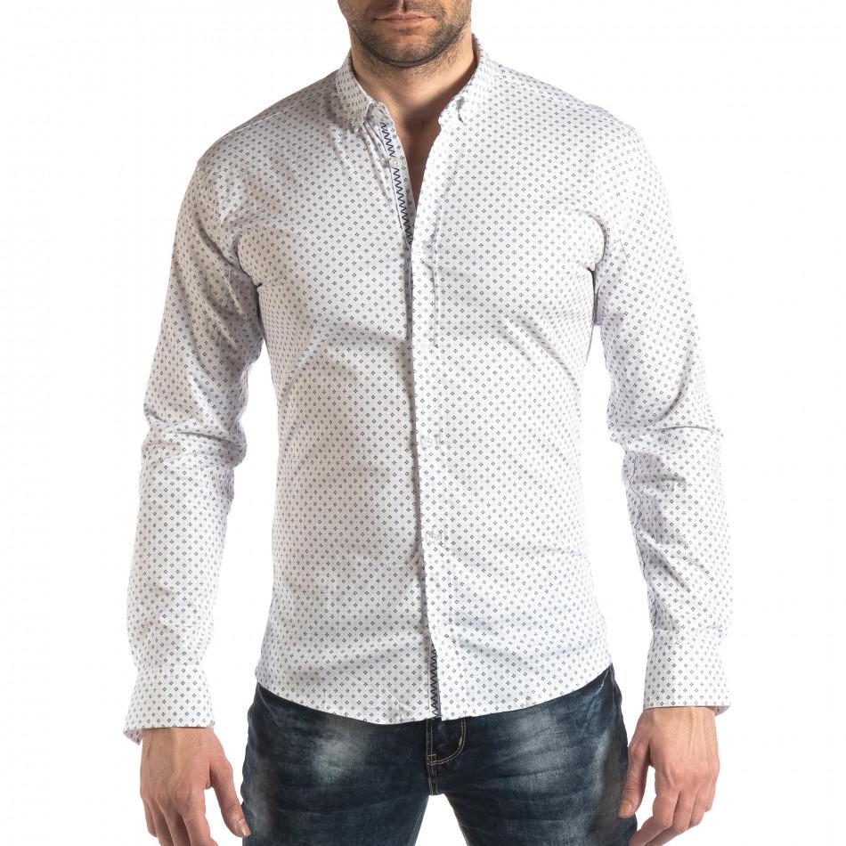 Мъжка вталена риза с бял кръстовиден десен it210319-94