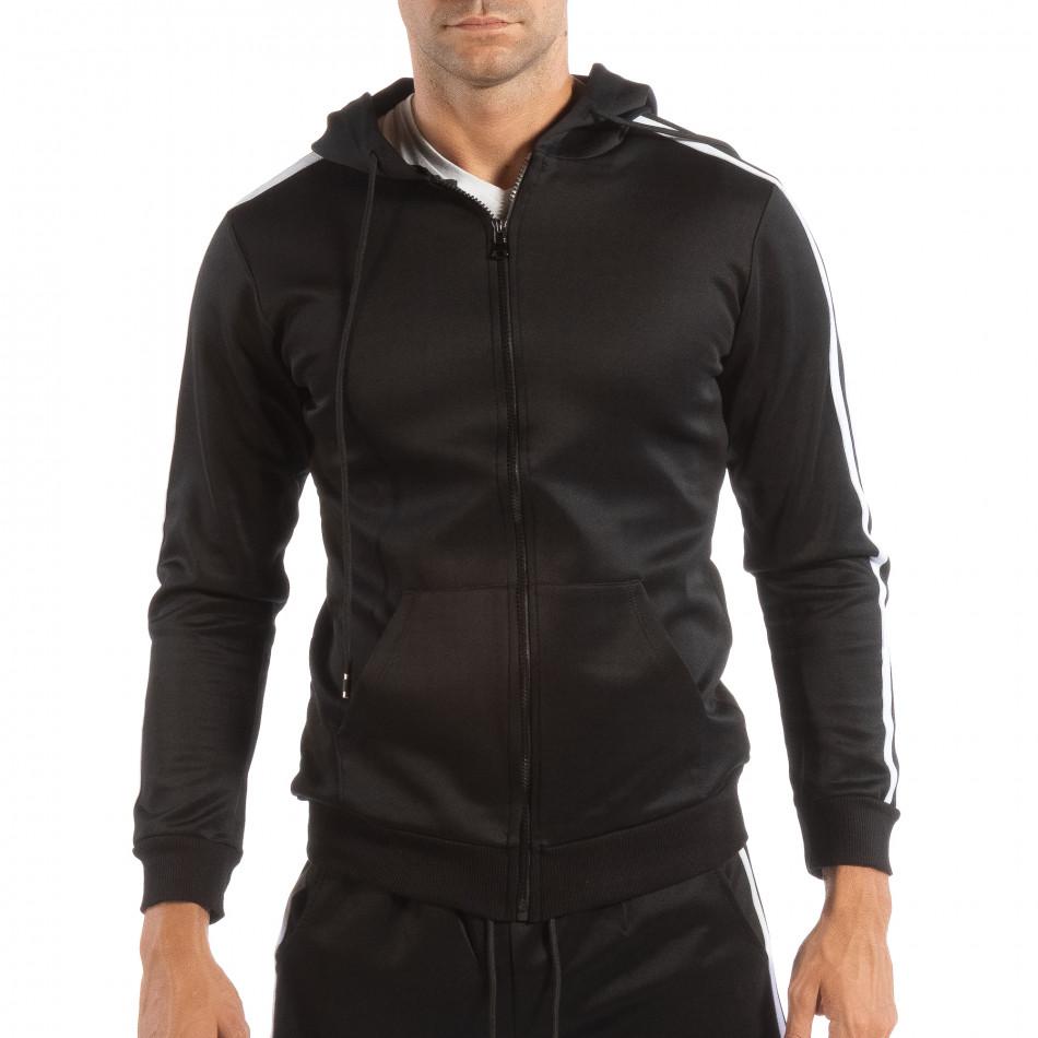 Мъжки черен суичър с качулка и бели кантове it240818-105