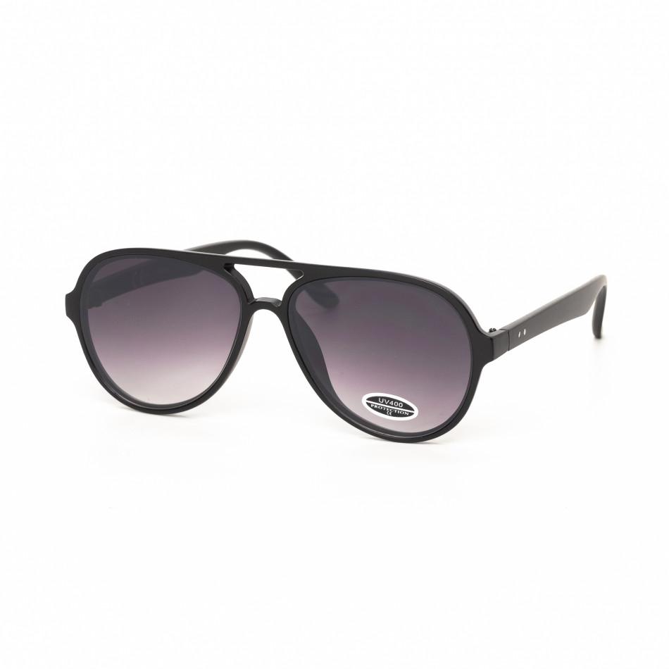Опушени черни пилотски очила плътна рамка it030519-29