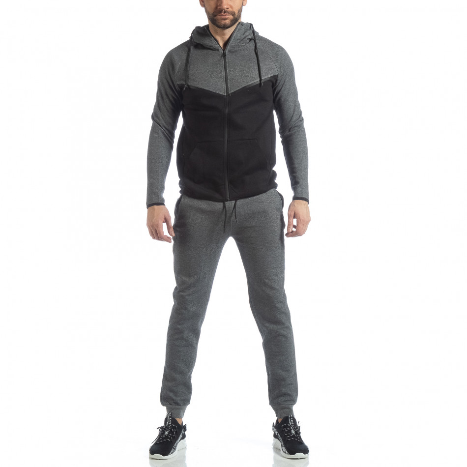 Сиво-черен спортен мъжки комплект с качулка ss-LP216-LP211