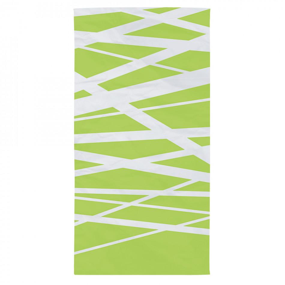 Зелена плажна кърпа с бели ленти tsf120416-2