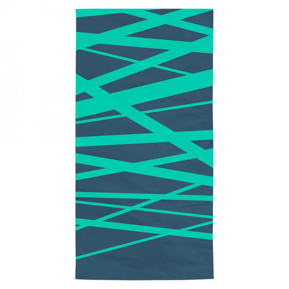 Плажна кърпа тъмно синя на зелени ленти tsf120416-1