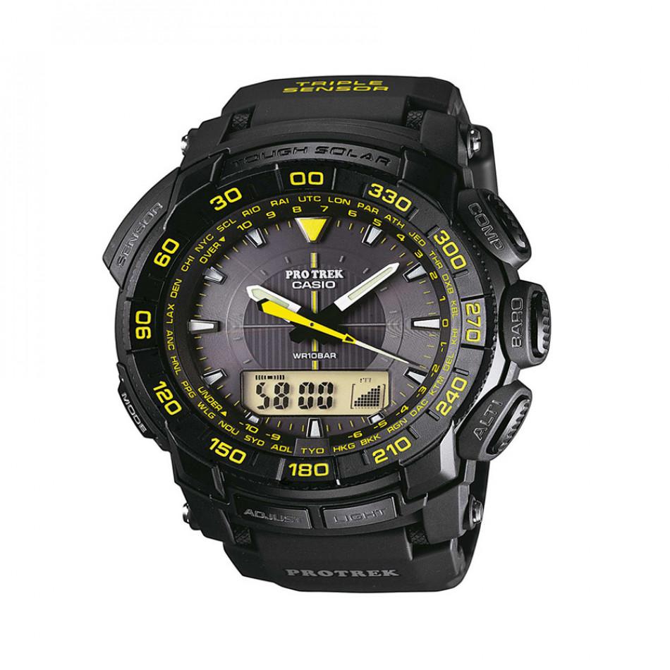 Мъжки часовник Casio Pro Trek черен с жълти цифри PRG5501A9ER