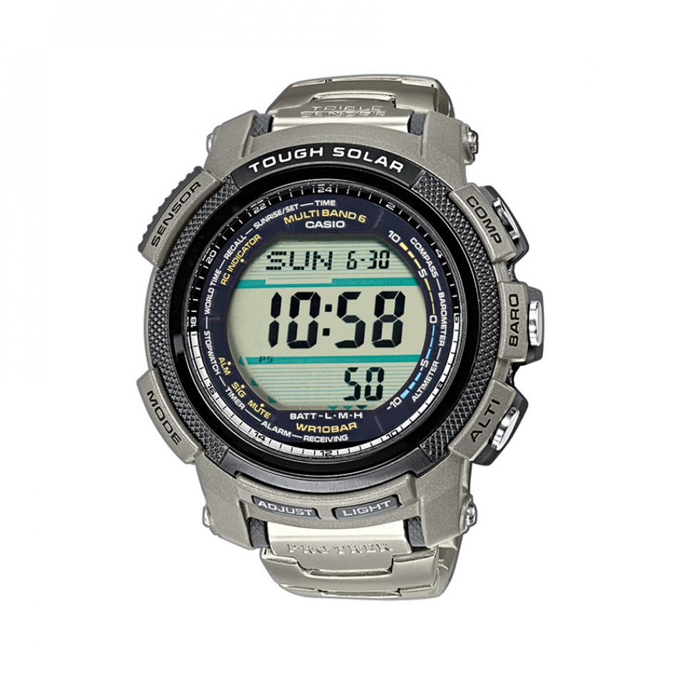 Мъжки часовник Casio Pro Trek  сребрист с дигитален компас PRW2000T7ER
