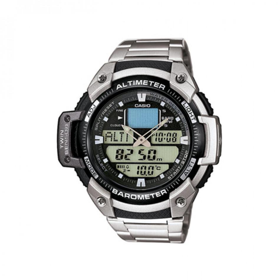 Мъжки часовник Casio Outdoor сребрист браслет с барометър SGW400HD1BVER
