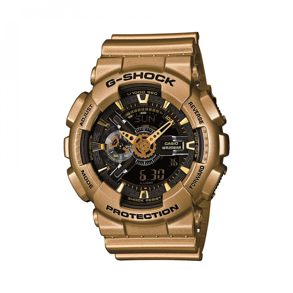 Мъжки спортен часовник Casio G-SHOCK златист с черен циферблат GA110GD9BER
