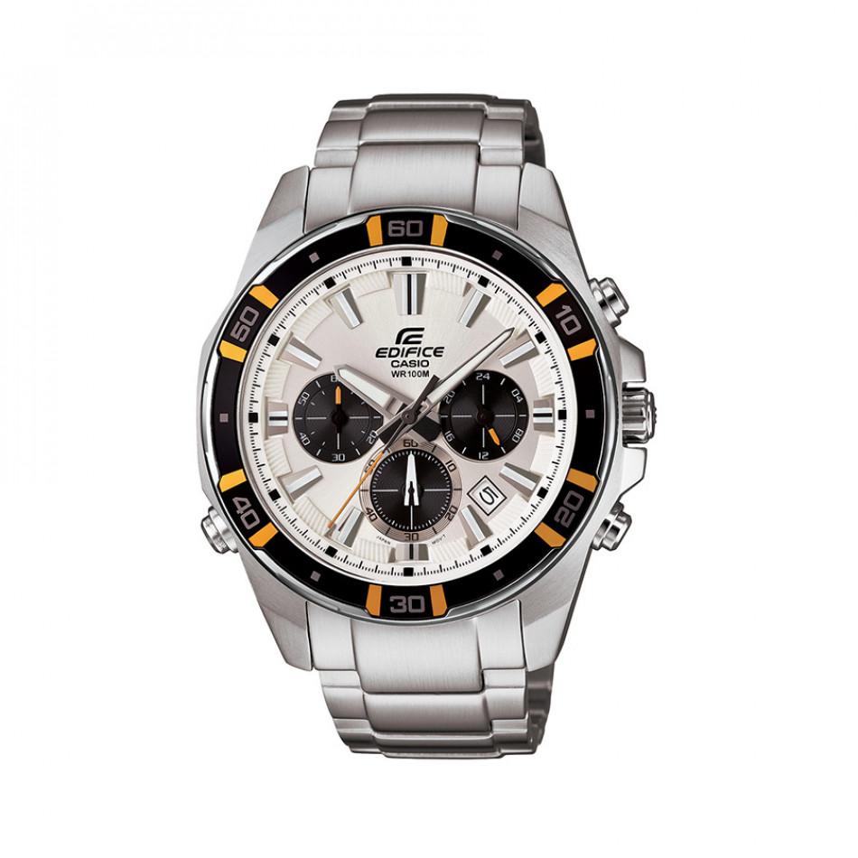 Мъжки часовник Casio Edifice сребрист браслет с бели индекси на циферблата EFR534D7AVEF
