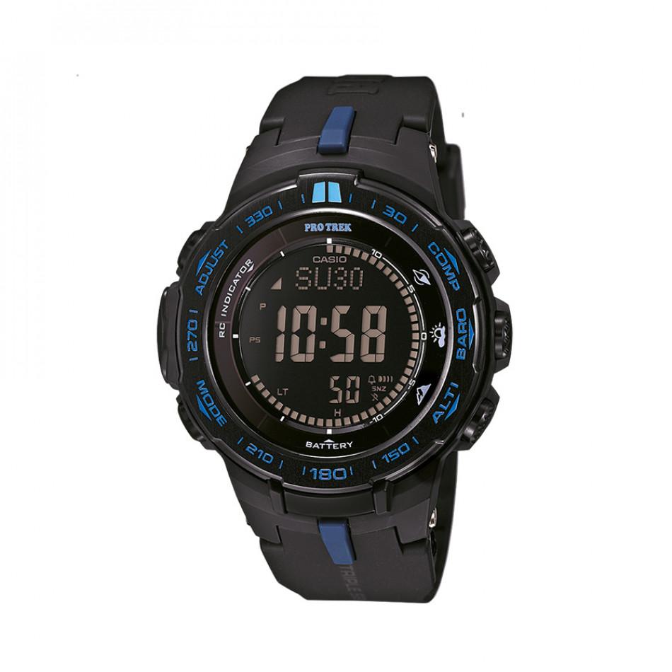 Мъжки часовник Casio Pro Trek  черен със сини детайли PRW3100Y1ER