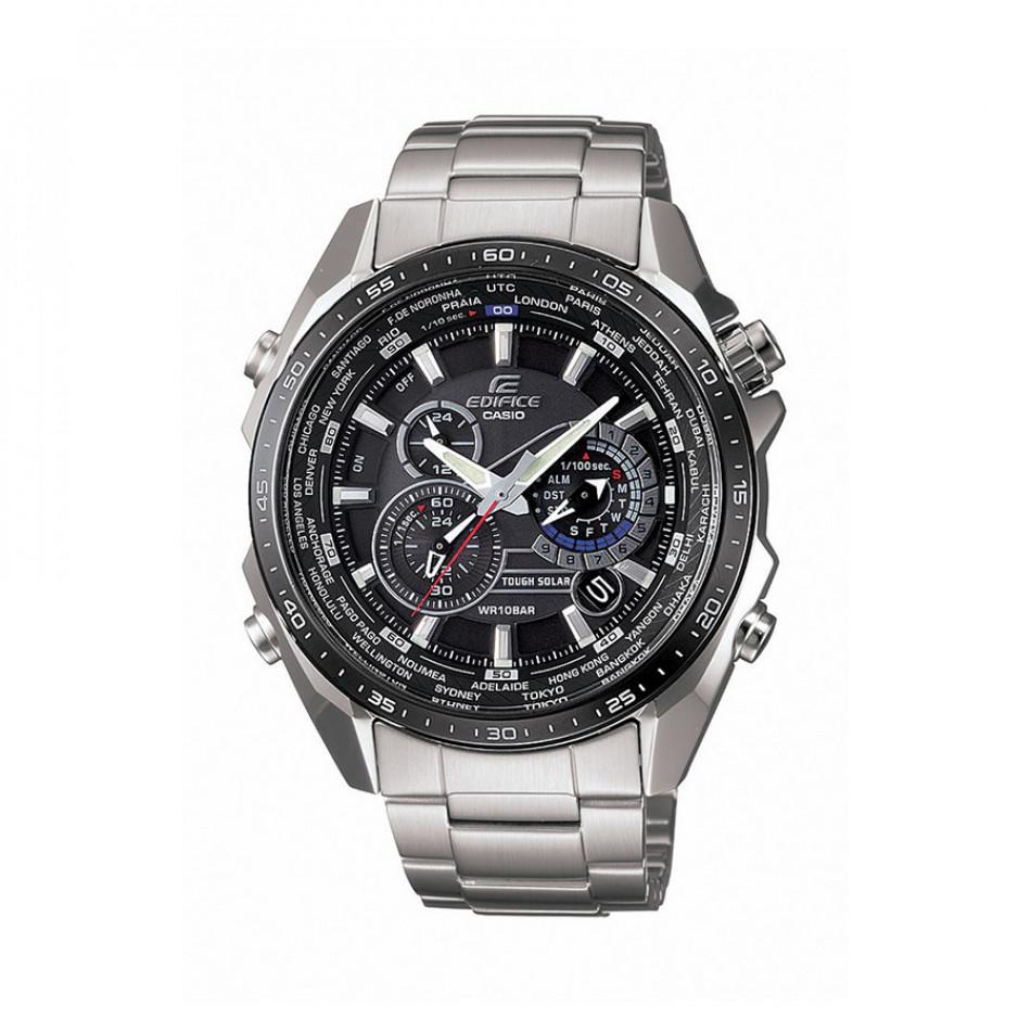 Мъжки часовник Casio Edifice сребрист браслет с черен циферблат EQS500DB1A1ER