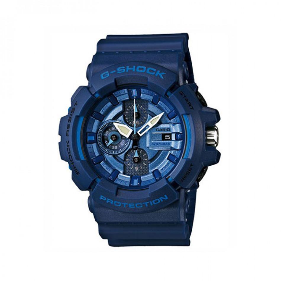 Мъжки спортен часовник Casio G-SHOCK син със светло сини детайли GAC100AC2AER