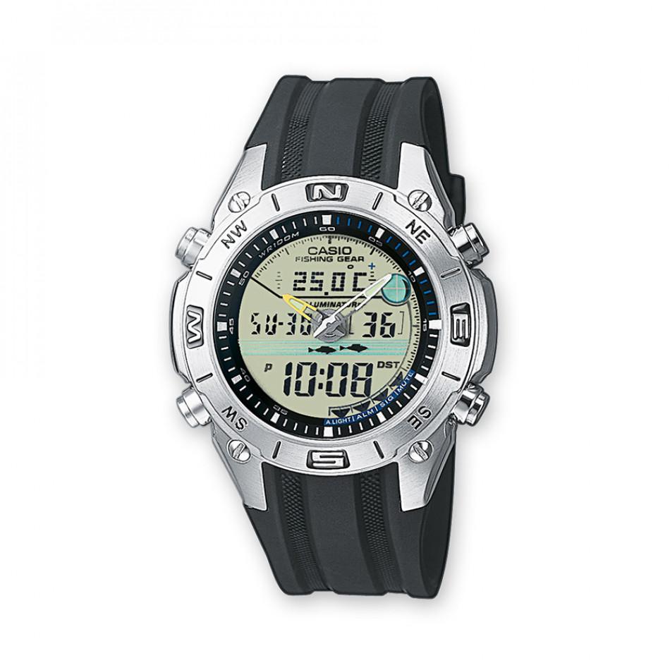 Мъжки часовник Casio Collection с черна каишка и термометър AMW7027AVEF