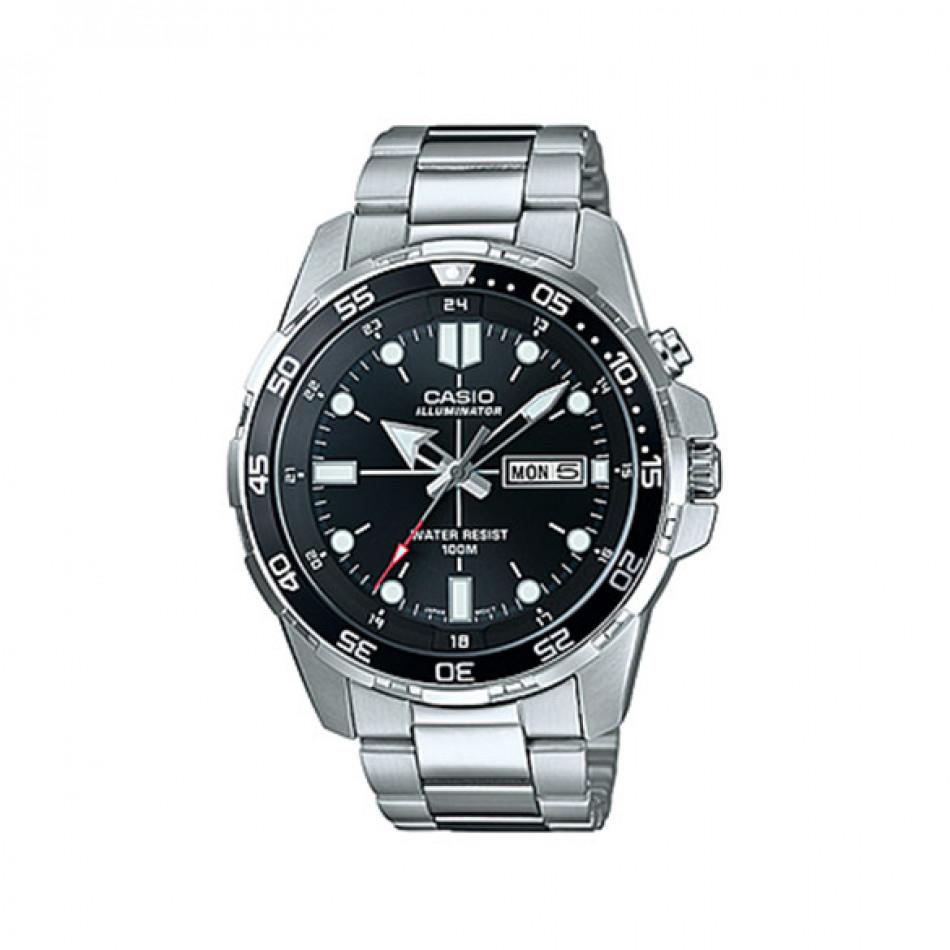 Мъжки часовник Casio Outdoor сребрист браслет с бели индекси MTD1079D1AVEF