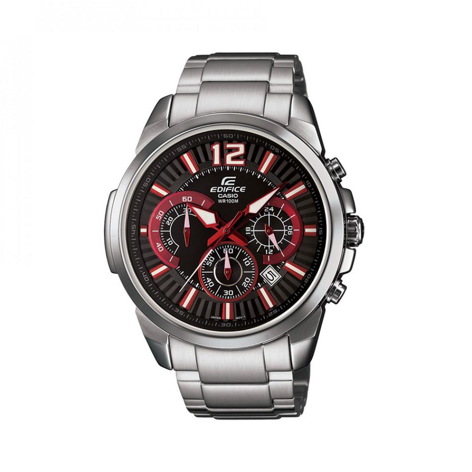 Мъжки часовник Casio Edifice сребрист браслет с червено-бели индекси EFR535D1A4VUEF