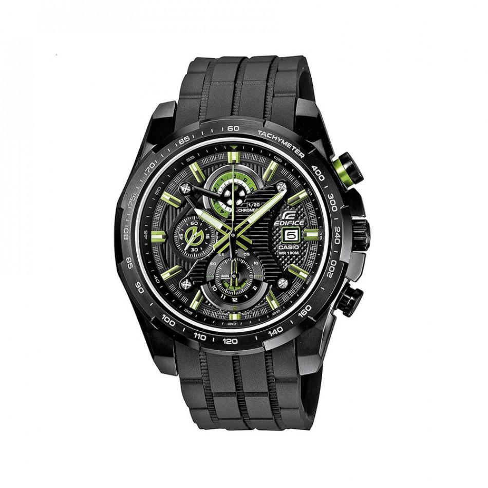 Мъжки часовник Casio Edifice черен със зелено-бели стрелки и цифри EFR523PB1AVEF