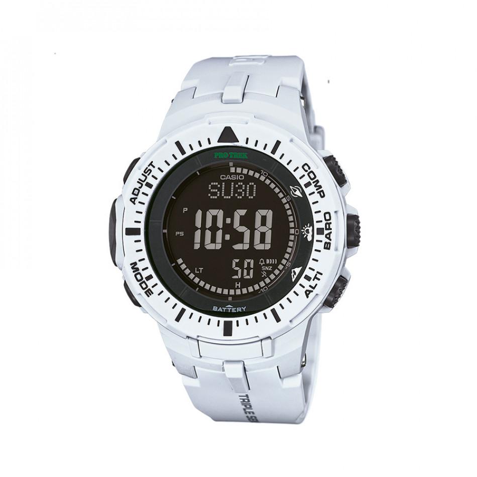 Мъжки часовник Casio Pro Trek бял с черен дисплей PRG3007ER