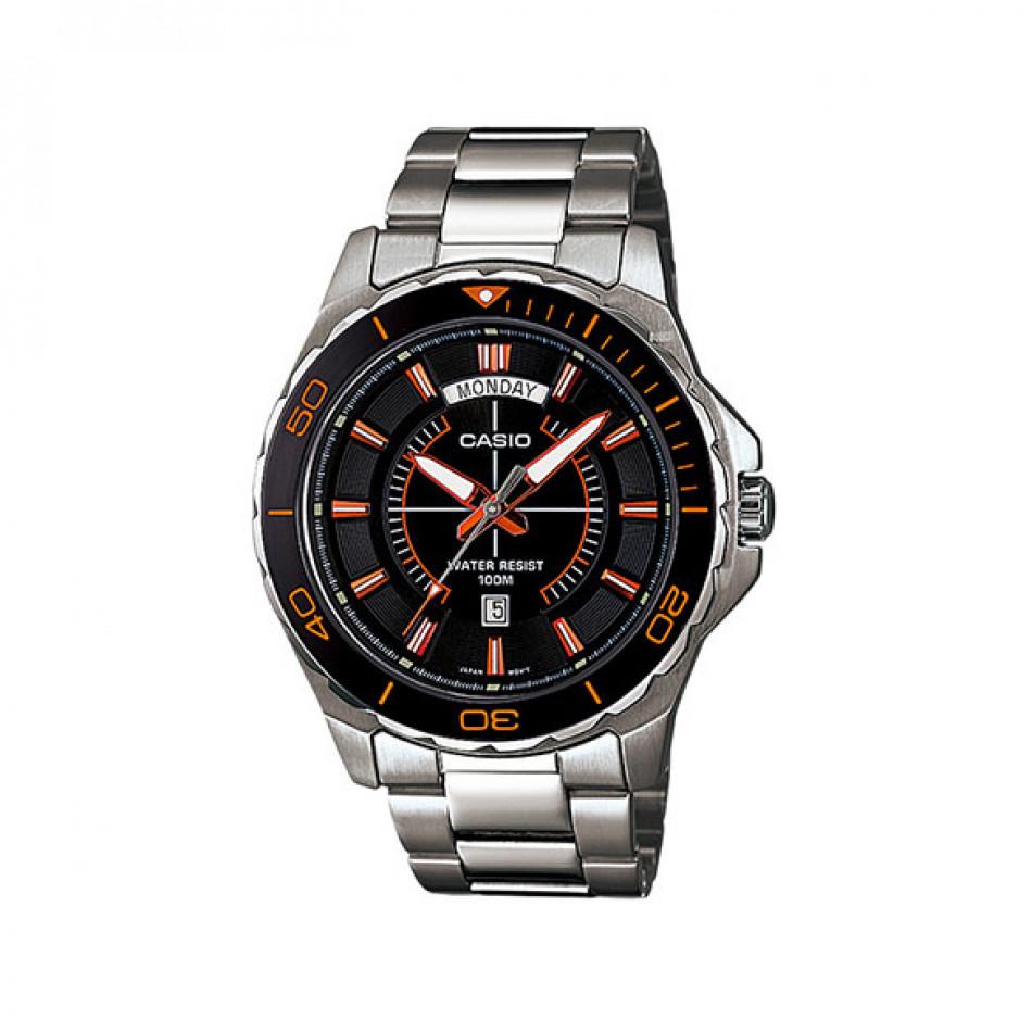 Мъжки часовник Casio Collection сребрист браслет с черен циферблат MTD1076D1A4VEF