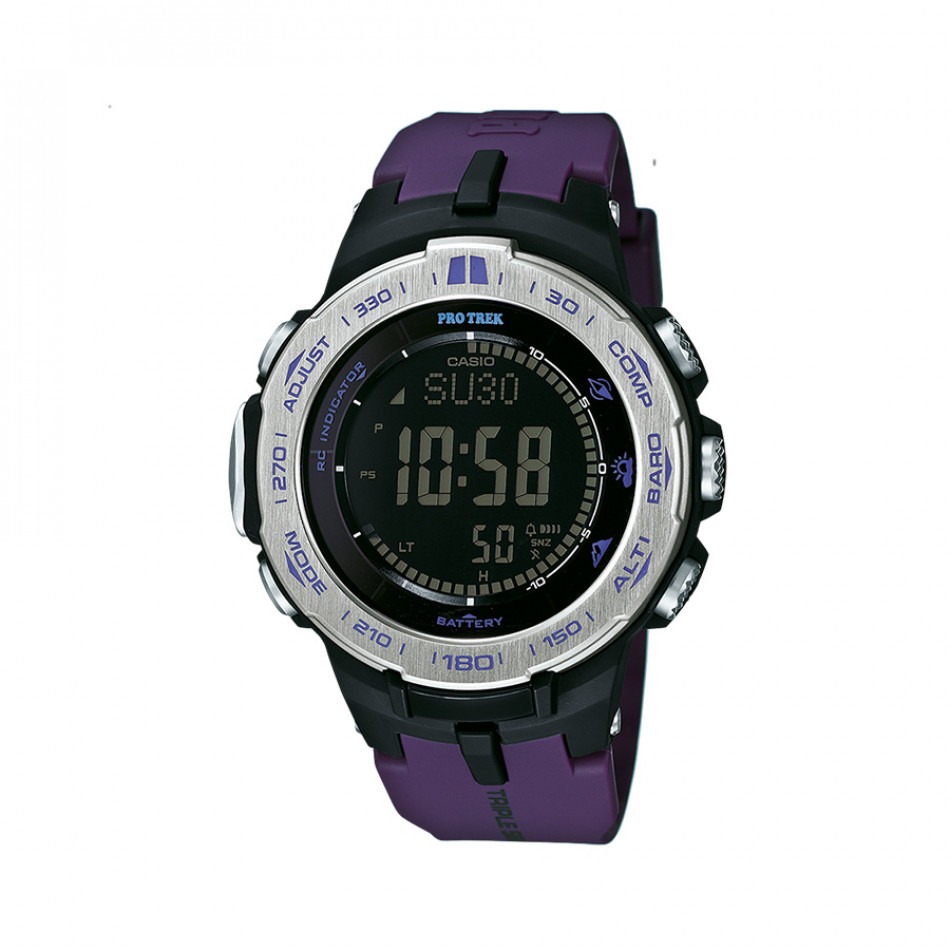 Мъжки часовник Casio Pro Trek с лилава каучукова каишка PRW31006ER