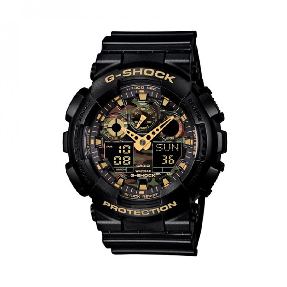 Мъжки спортен часовник Casio G-SHOCK черен с камуфлажен циферблат GA100CF1A9ER