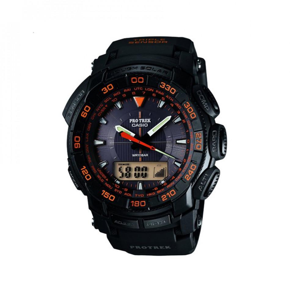 Мъжки часовник Casio Pro Trek черен с черна каучукова каишка PRG5501A4ER