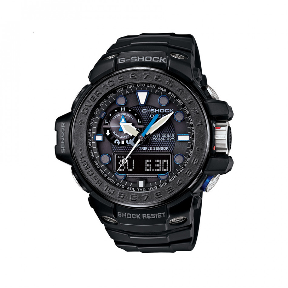 Мъжки спортен часовник Casio G-SHOCK черен с малки сини детайли GWN1000C1AER