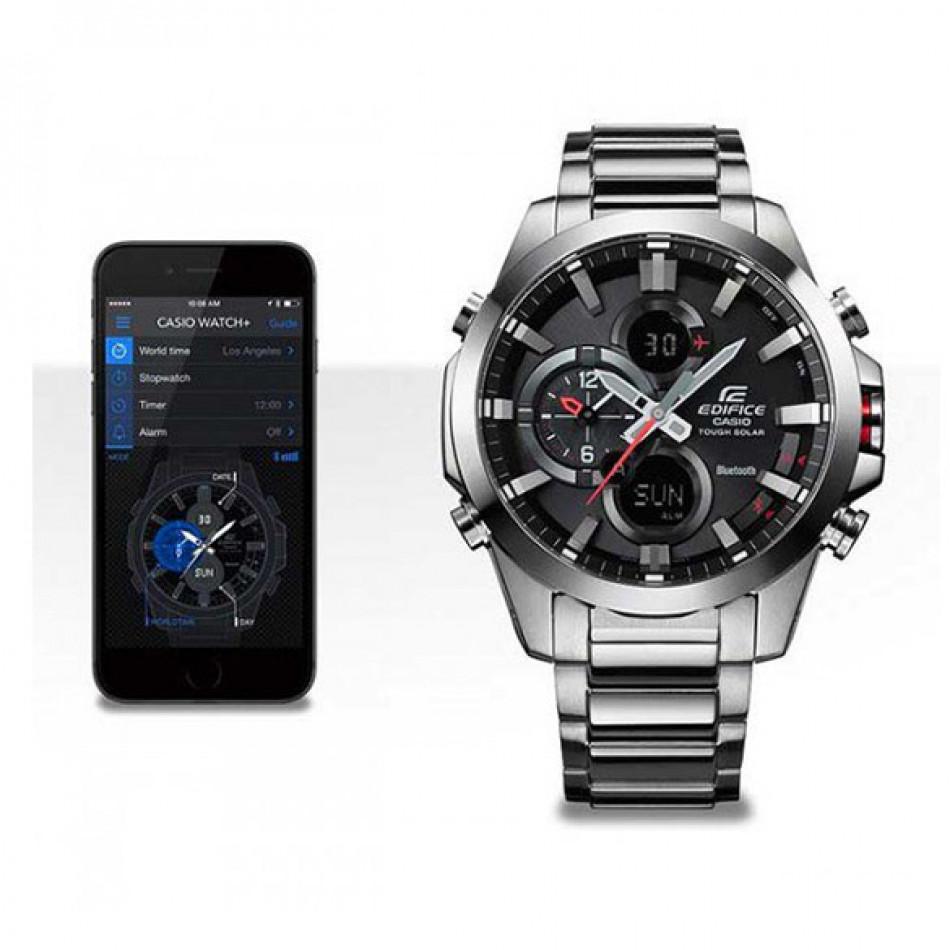Мъжки часовник Casio Edifice сребрист браслет с функция за намиране на телефона ECB500D1AER