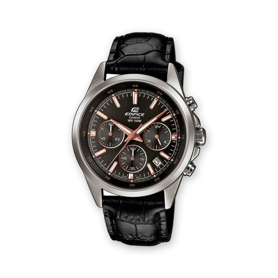 Мъжки часовник Casio Edifice с черна кожена каишка и кафяво-бели стрелки EFR527L1AVUEF