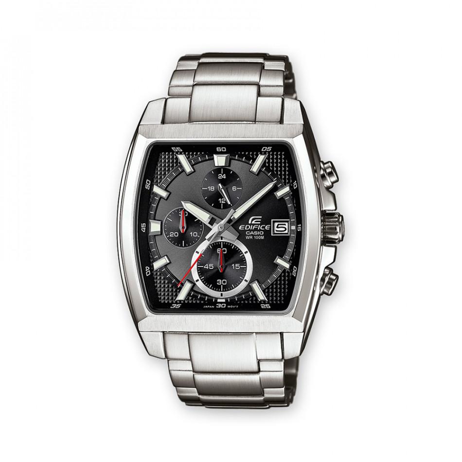 Мъжки часовник Casio Edifice сребрист браслет с правоъгълен черен циферблат EFR524D1AVEF