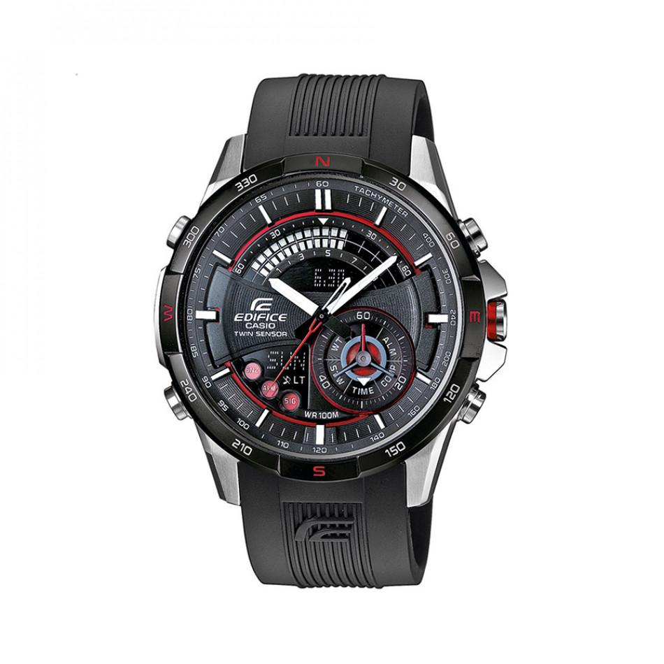 Мъжки часовник Casio Edifice черен с каучукува каишка ERA200B1AVER
