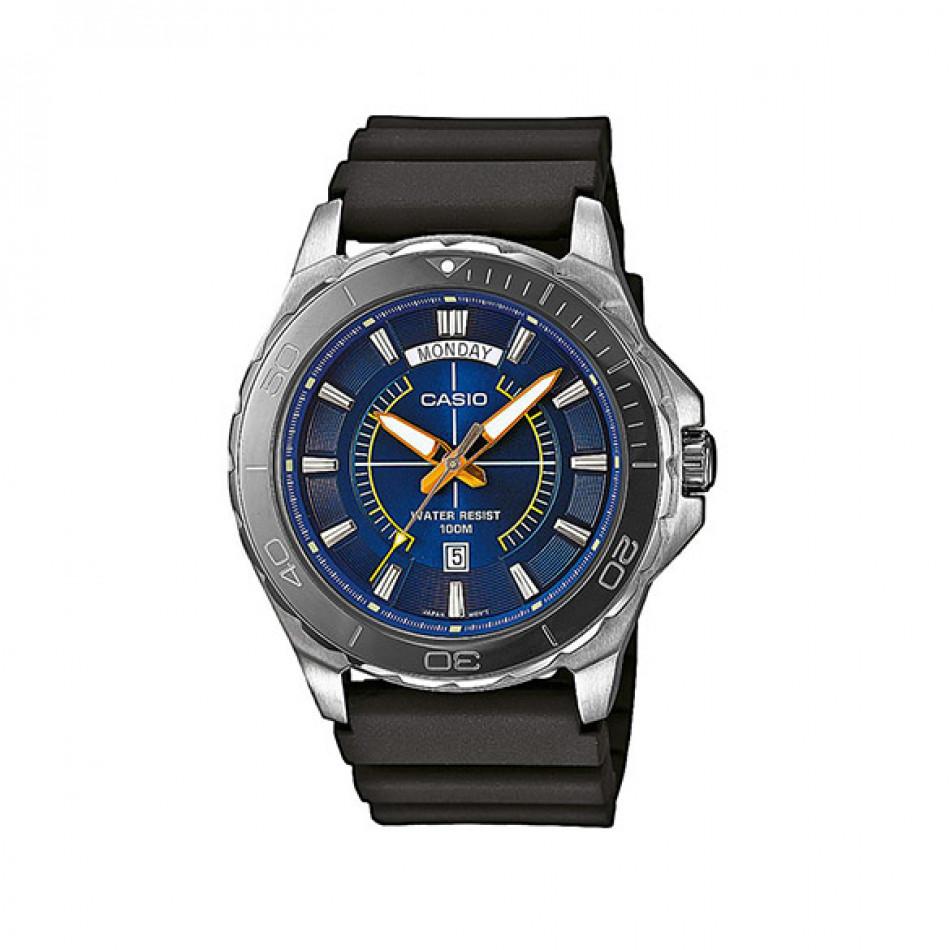 Мъжки часовник Casio Collection сребрист с черна каучукова каишка MTD10762AVEF