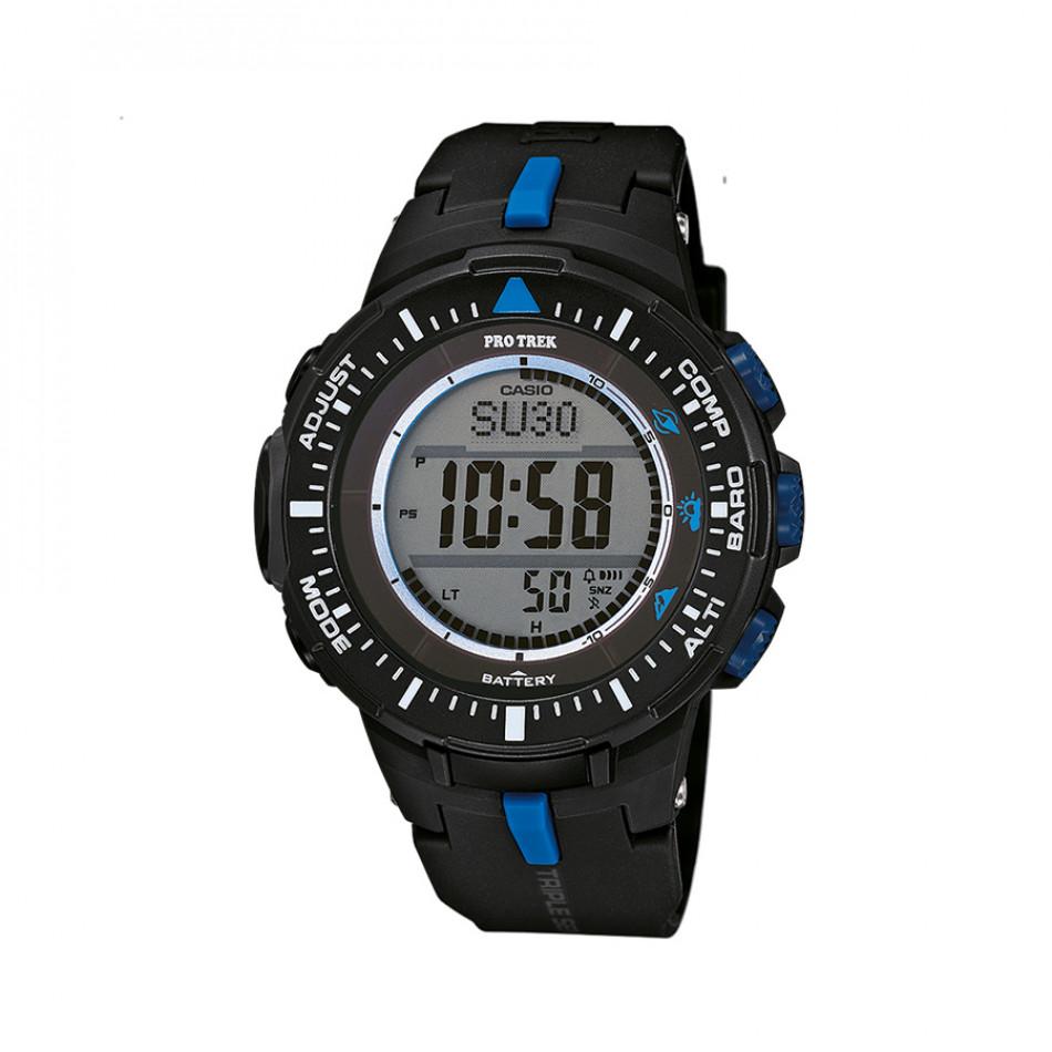 Мъжки часовник Casio Pro Trek черен със сини детайли PRG3001A2ER