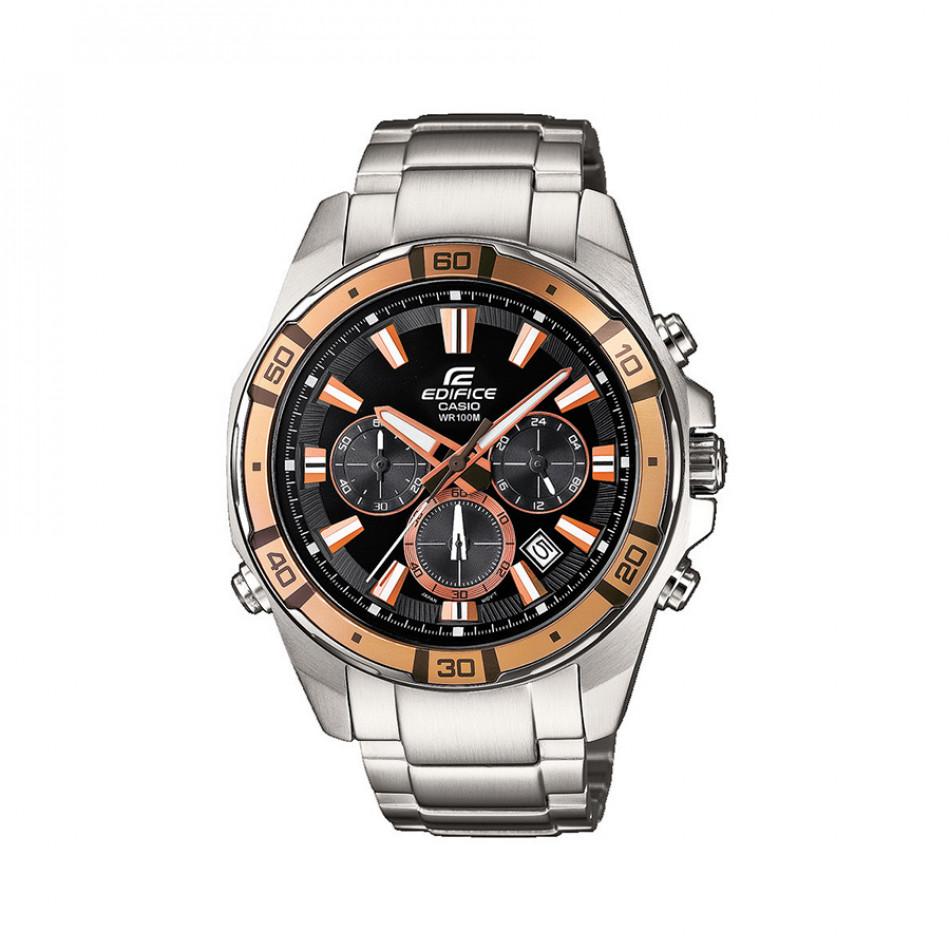 Мъжки часовник Casio Edifice сребрист браслет със златист ринг на циферблата EFR534D1A9VEF