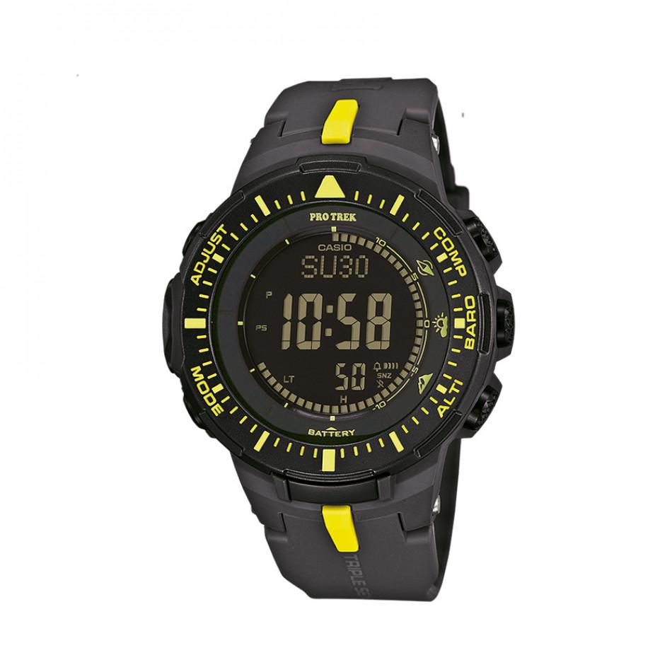 Мъжки часовник Casio Pro Trek черен с жълти детайли PRG3001A9ER