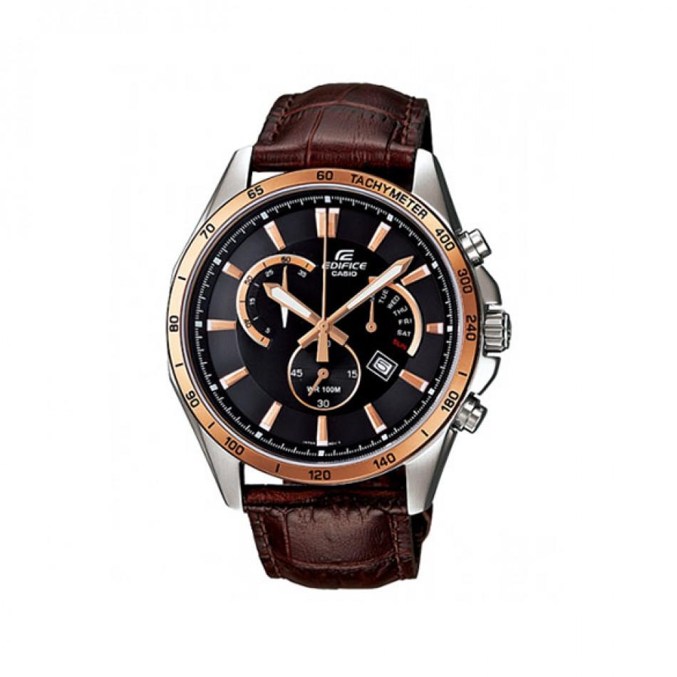Мъжки часовник Casio Edifice с кафява каишка от естествена кожа и златисти индекси EFR510L5AVEF