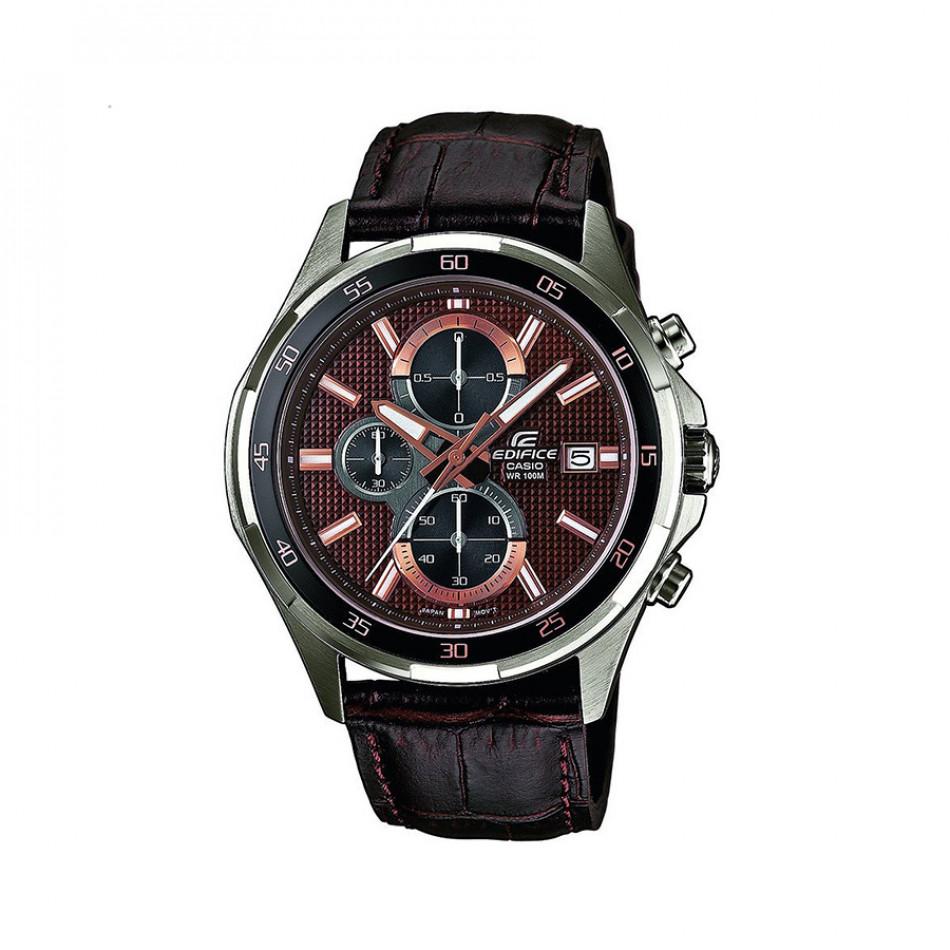 Мъжки часовник Casio Edifice с кафява кожена каишка и кафяв циферблат EFR531L5AVUEF